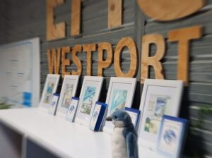 Books and framed copies of the illustrations at the launch A Little Blue